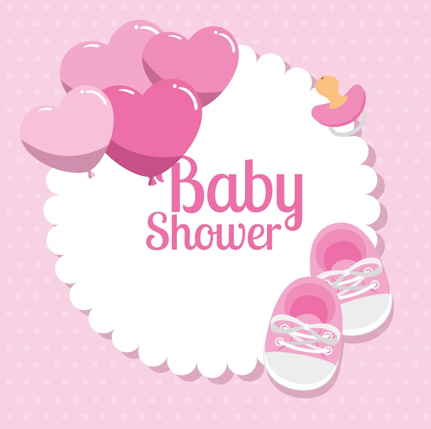 Baby shower card with shoes and decoration