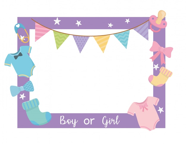 Baby shower card with sqaure frame and accessories