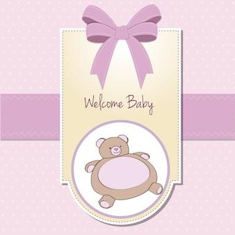 Карточка с детским душем с игрушкой из плюшевого медведя