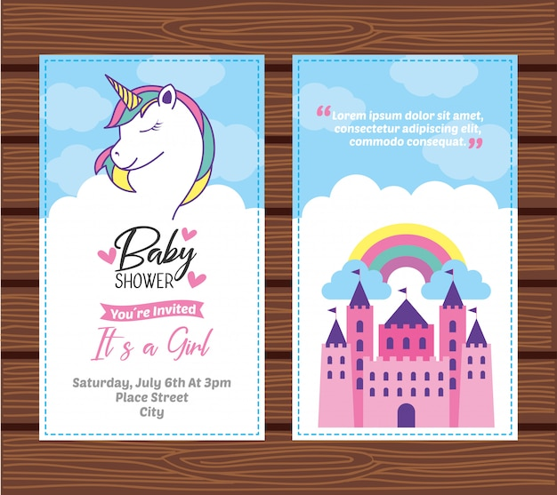 Baby shower card with unicorn
