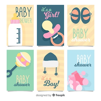 Baby shower cards collection baby elements