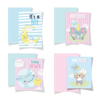 Baby shower cards cute bear elephant moon clouds