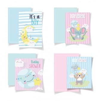 Baby shower cards cute bear elephant moon clouds Premium Vector