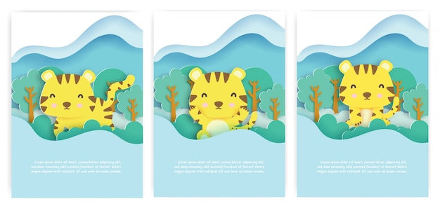 Baby shower cards with cute tiger in the autumn forest  paper cut style.