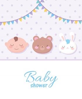 Открытка на рождение ребенка с лицами медведя, мальчика и кролика