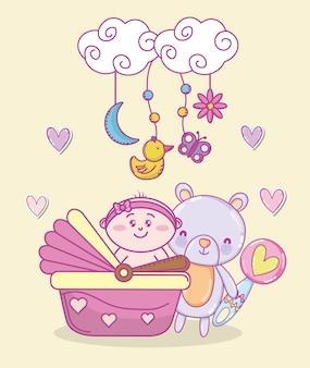 Baby shower cartoons Premium Vector