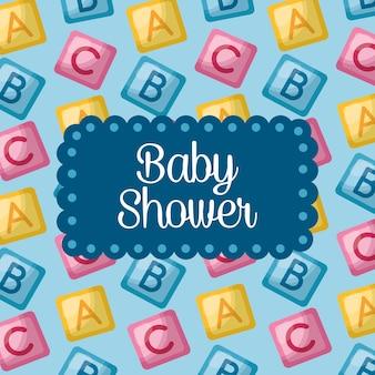Baby shower celebration alphabet cubes background boy girl