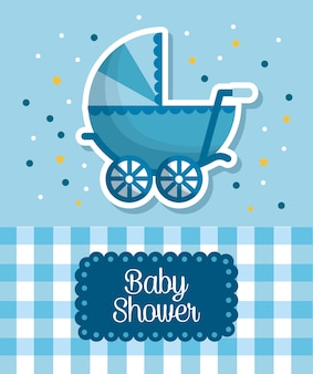Baby shower celebration blue babe carriage square background born boy happy