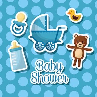 Baby shower celebration bubble background boy born teddy babe carriage bottle milk
