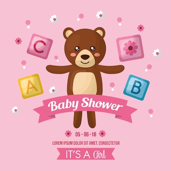 Baby shower celebration cute bear toy open arms cubes girl