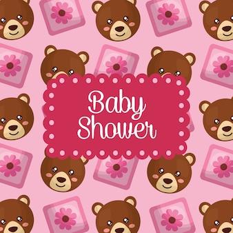 Baby shower celebration cute bears cube flowers girl pattern