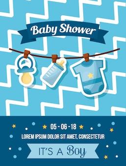ベビーシャワーのお祝いかわいい装飾の男の子の服のボトルのミルクおしゃぶり