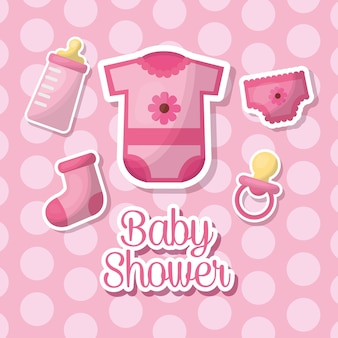 Baby shower celebration girl pink clothes bib bottle milk