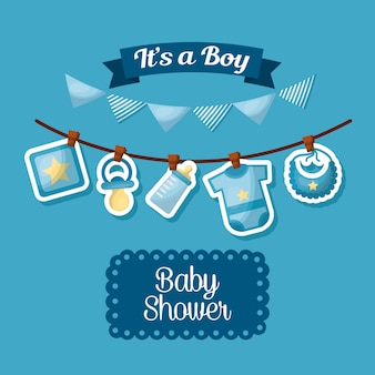 Baby shower celebration its a boy happy born pennants babe clothes