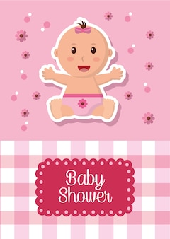 Baby shower celebration labels stripe square background girl smiling flowers