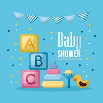 Baby shower celebration pennants  cubes letters duck
