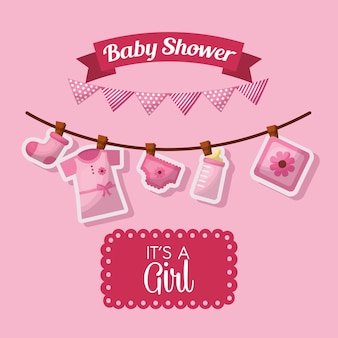 Baby shower celebration pink pennants its girl born clothes bottle milk