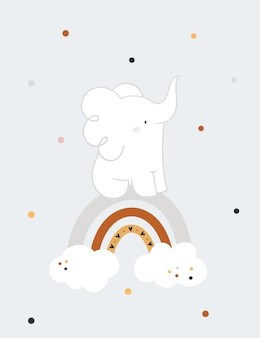 Baby shower childish print with cute baby elephant on rainbow