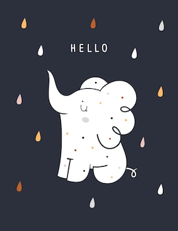 Baby shower childish print with cute baby elephant