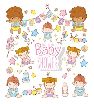 Baby shower children with toys decoration