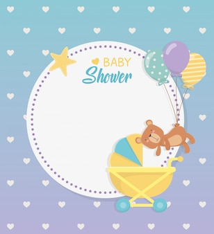 Baby shower circular card with bear teddy in baby cart