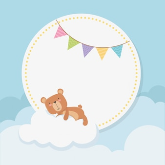 Baby shower circular card with little bear teddy in cloud