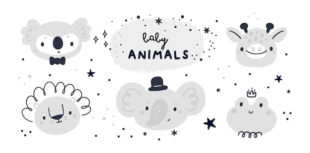 Baby shower collection with cute baby animals