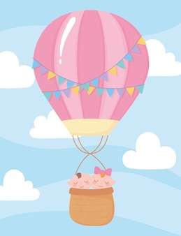 Baby shower, cute babies in hot air balloon sky, celebration welcome newborn