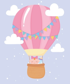 Baby shower, cute baby girl in air balloon with bottle milk, celebration welcome newborn