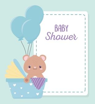 Детский душ милый мишка в новорожденном автокресе на воздушных шарах