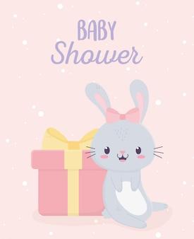 ベビーシャワーのかわいいウサギとギフトボックスグリーティングカード