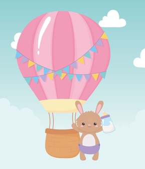 Baby shower, cute bunny with bottle milk and air balloon, celebration welcome newborn