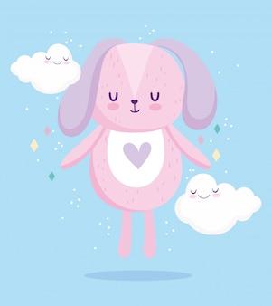 베이비 샤워, 귀여운 강아지 동물 구름 만화 파란색 배경