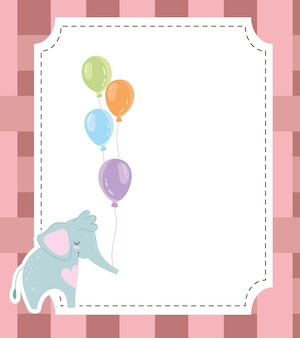 Baby душ милый слон и воздушные шары пригласительный билет векторные иллюстрации