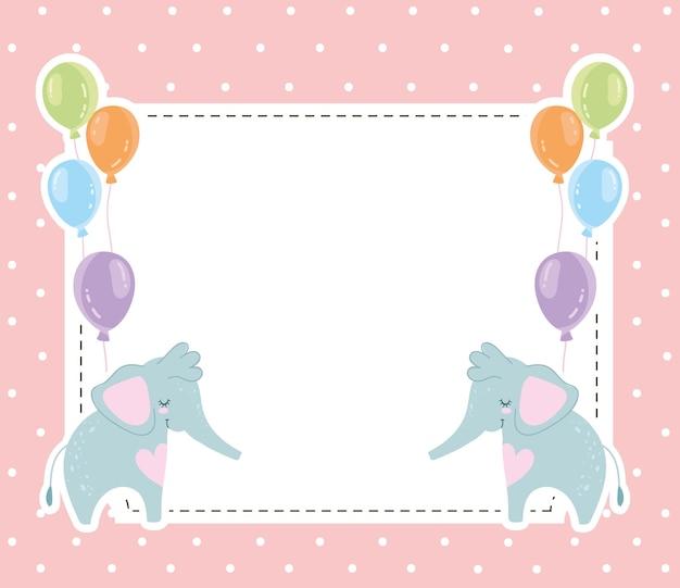 베이비 샤워 귀여운 코끼리 동물과 풍선 초대 카드 벡터 일러스트 레이 션