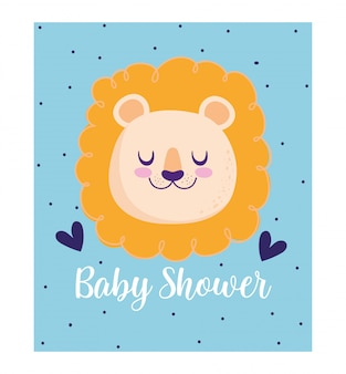 Baby shower, cute lion animal hearts cartoon, theme invitation card dotted background