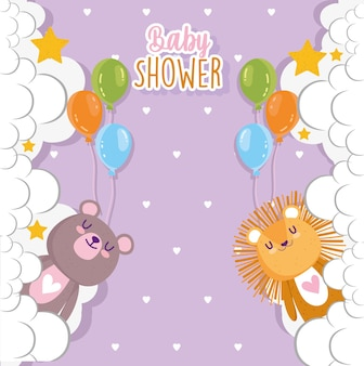 Baby shower, cute lion and bear with balloons and clouds vector illustration