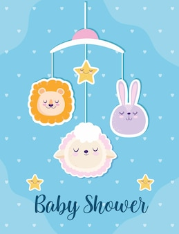 Baby shower cute lion bunny and sheep mobile decoration vector illustration