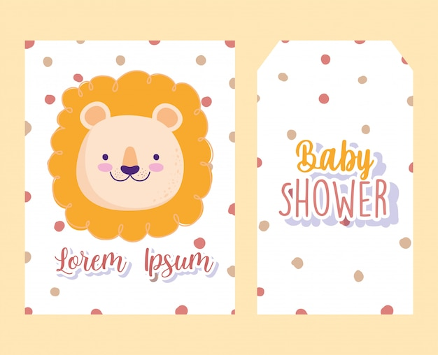 Детский душ, милое лицо льва, мультфильм животных, пунктирный фон, тема приглашения баннер