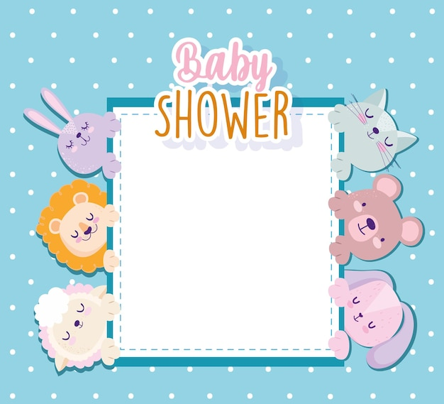 Baby shower cute lion rabbit cat bear sheep invitation card vector illustration