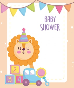 Baby shower, cute lion with car cubes and rattle toys, announce newborn welcome card