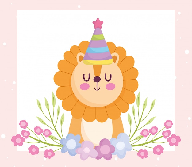 Baby shower, cute lion with party hat and flowers cartoon, announce newborn welcome card