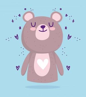 Baby shower, cute little bear animal hearts cartoon