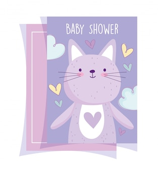 Детский душ, милый котенок, животные сердца, любовь, пригласительный билет, мультяшный