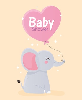Baby shower, cute little elephant with heart balloon vector illustration