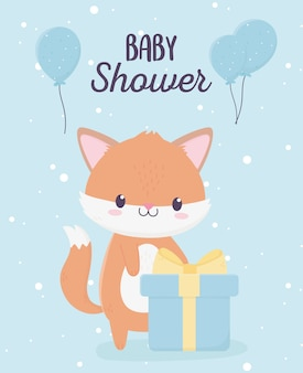 Baby shower cute little fox with gift box and balloons card