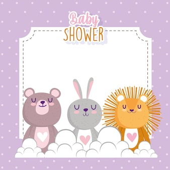Baby shower cute little lion rabbit and bear invitation card vector illustration