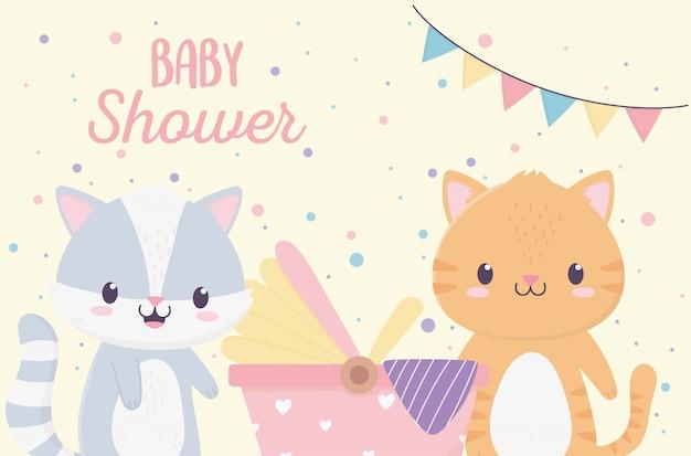 Детский душ милый маленький енот и кошка с коляской