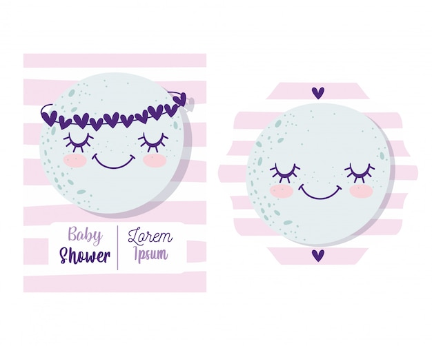 Baby shower, cute moon with crown of hearts cartoon, theme invitation card