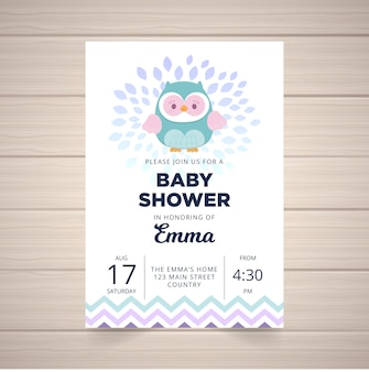 Baby shower cute owl invite card